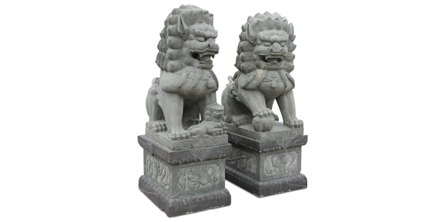 leones de fu de piedra perros foo